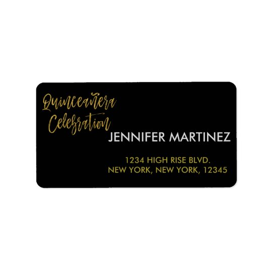 Quinceanera Celebration Gold Address Label