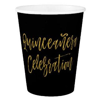 Quinceanera Celebration Gold Foil Paper Cup