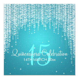 """Quinceañera Celebration Party Night Dazzle Blue 5.25"""" Square Invitation Card"""