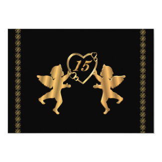 Quinceanera cupids for 15th Birthday on black Card