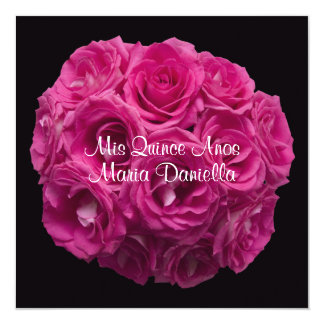 Quinceanera Elegant Pink Rose Bouquet on Black Card