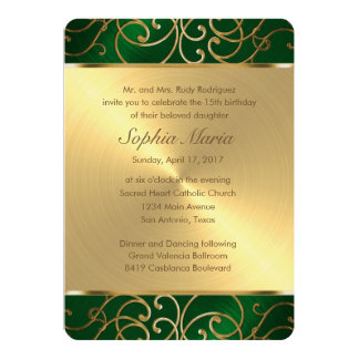 Quinceanera Emerald Green and Gold Filigree Swirls Card