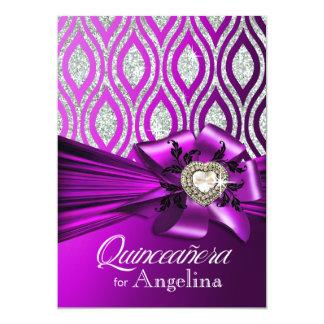 Quinceanera Glitter Geometric Ovals purple silver Card