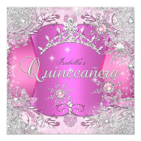 Quinceanera Hot Pink Winter Wonderland Snowflakes Card