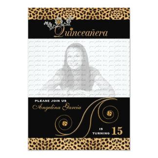 Quinceanera Invitation in Cheetah Print