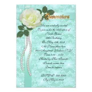 Quinceanera Invitation lace and white rose