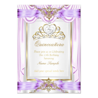 Quinceanera Lilac Lavender Purple Gold White Card