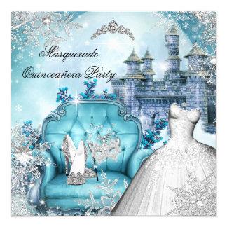 "Quinceanera Masquerade Magical Princess Blue 5.25"" Square Invitation Card"