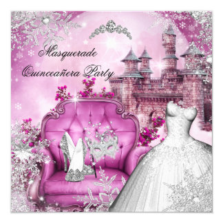 Quinceanera Masquerade Magical Princess Pink 5.25x5.25 Square Paper Invitation Card