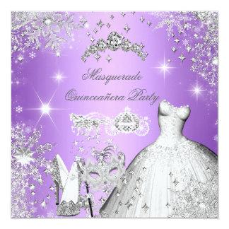 Quinceanera Masquerade Magical Princess Purple Card