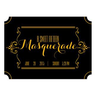 quinceañera MASQUERADE TICKET invitation GOLD