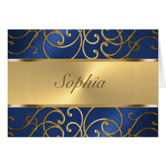 Quinceanera Navy Blue and Gold Filigree Swirls Card