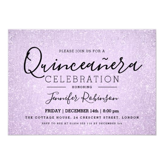Quinceanera Party Lavender Glitter Look Paint Card