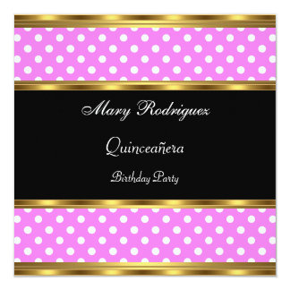 Quinceañera Party Pink Polka dots Card