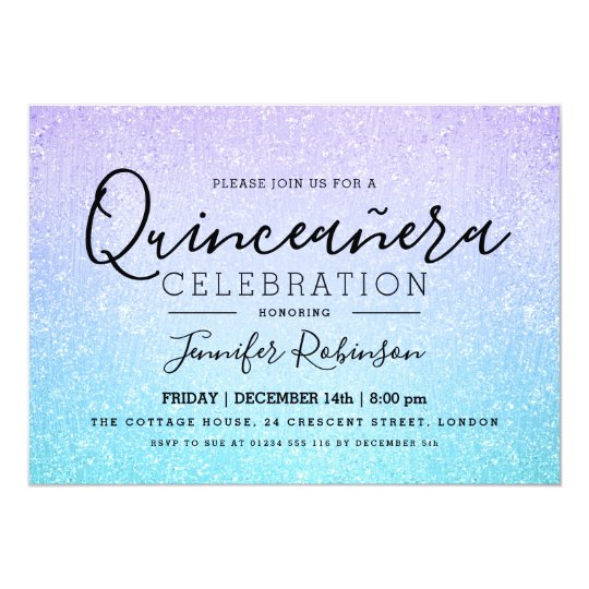 Quinceanera Party Purple Turquoise Glitter Paint Card