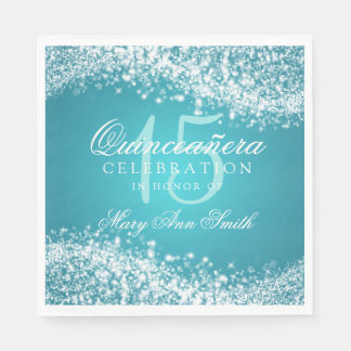 Quinceanera Party Sparkling Wave Turquoise Paper Napkins