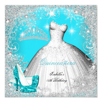 """Quinceanera Party Teal Blue Silver Snowflakes 2 5.25"""" Square Invitation Card"""