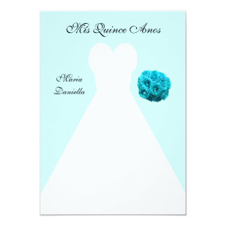 Quinceanera Party White Gown on Blue Background Card