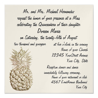 Quinceanera Pineapple Gold Metallic Card