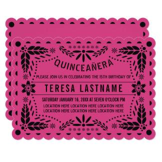 Quinceañera pink black papel picado card