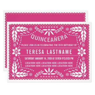 Quinceañera pink papel picado card