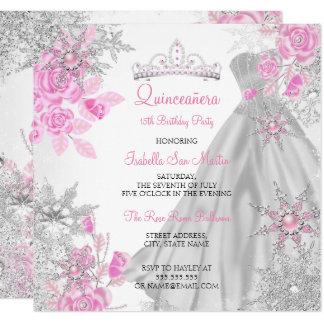 Quinceanera Pink Rose Winter Wonderland Snowflake Card