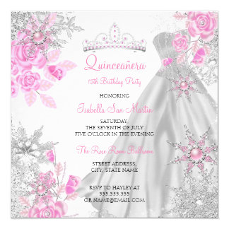 Quinceanera Pink Rose Winter Wonderland Snowflake Card