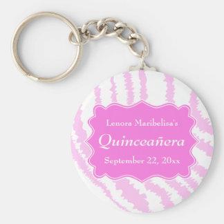 Quinceanera Pink Zebra Print Pattern Keychain