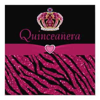 """Quinceanera Princess Crown, Heart & Zebra Glitter 5.25"""" Square Invitation Card"""