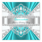 Quinceanera Princess Teal Blue White Diamond Tiara Card