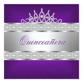 Quinceanera Purple Silver Jewel 15th Birthday Card