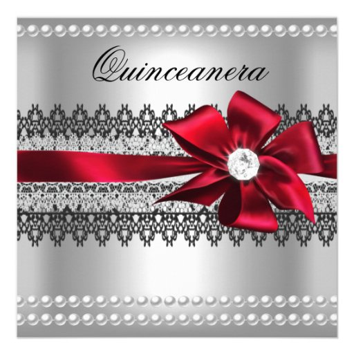 Quinceanera Red Bow Black Pearl Lace Diamond Invite