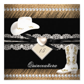 """Quinceanera Rustic Burlap Cowgirl Hat Boots Party 5.25"""" Square Invitation Card"""