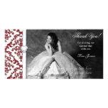 Quinceanera Sweet Sixteen Glitter Damask Photo Cards