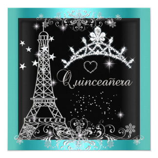 "Quinceanera Teal Blue Glitter Tiara Eiffel Tower 5.25"" Square Invitation Card"