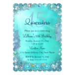 """Quinceanera Teal Blue Ocean Jewel Birthday Party 5"""" X 7"""" Invitation Card"""