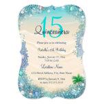 """Quinceanera Teal Blue Sand Ocean Beach Birthday 5"""" X 7"""" Invitation Card"""