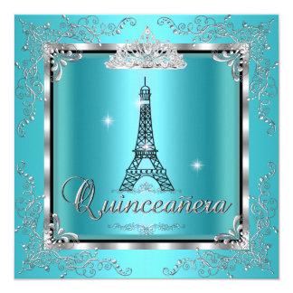 "Quinceanera Teal Blue Silver Tiara Eiffel Tower 3 5.25"" Square Invitation Card"