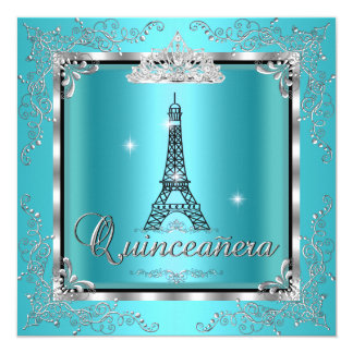 Quinceanera Teal Blue Silver Tiara Eiffel Tower 3 5.25x5.25 Square Paper Invitation Card