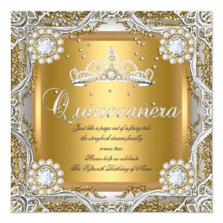 """Quinceanera Tiara Gold Silver Diamond Birthday 5.25"""" Square Invitation Card"""