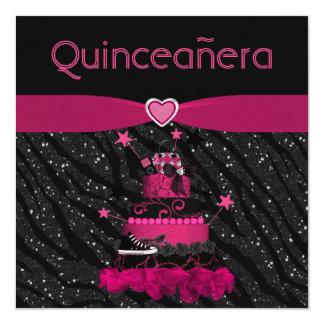 "Quinceanera Trendy Pink Cake & Zebra Stripes 5.25"" Square Invitation Card"