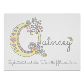Quincey monogram art girls name and meaning poster