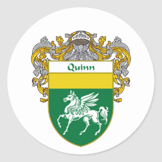 Quinn Coat of Arms (Mantled) Classic Round Sticker