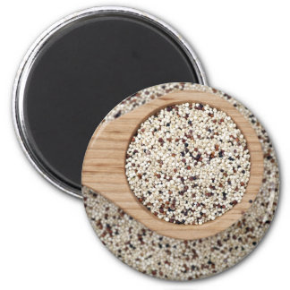 Quinoa with Wooden Spoon 2 Inch Round Magnet