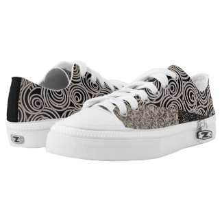 Quirky Black and White Patchwork Low-Top Sneakers