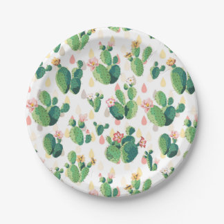 Quirky Cactus Garden Themed Party Plate 7 Inch Paper Plate
