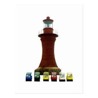 Quirky Cars and Lighthouse Postcard