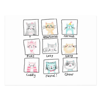 Quirky cat personality design postcard