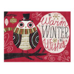 Quirky Christmas Owl Postcards