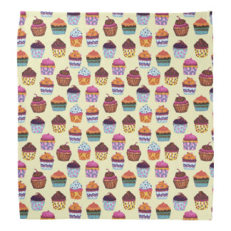 Quirky Colorful Cupcakes Illustration Pattern Bandana